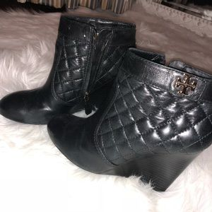 Tory Burch Quilted Wedge Bootie.